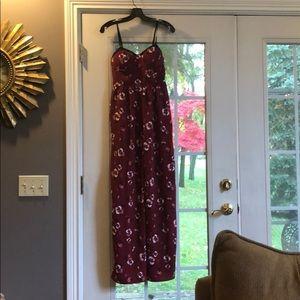 Maroon floral jumpsuit!